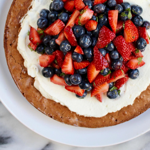 Brownie Tart With Honey Whipped Cream & Mint Berry Salad